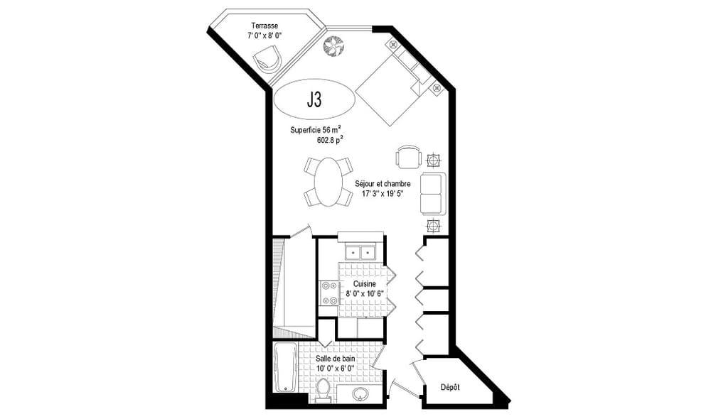 plan appartement jardin